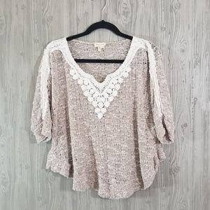 Anthropologie | Meadow Rue boho crochet crop top M